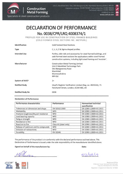 CE Declaration of Performance – Cold Formed Sections